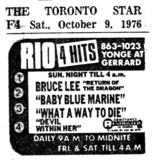 "TORONTO STAR AD FOR ""THE RIO AND 4 HITS"""