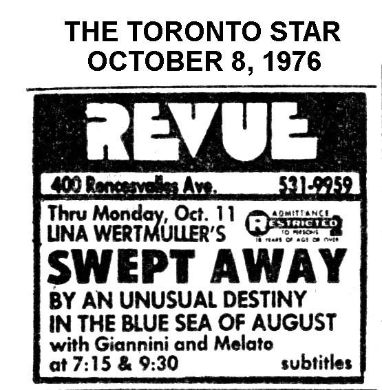 "TORONTO STAR AD FOR ""THE REVUE CINEMA"" - SWEPT AWAY"