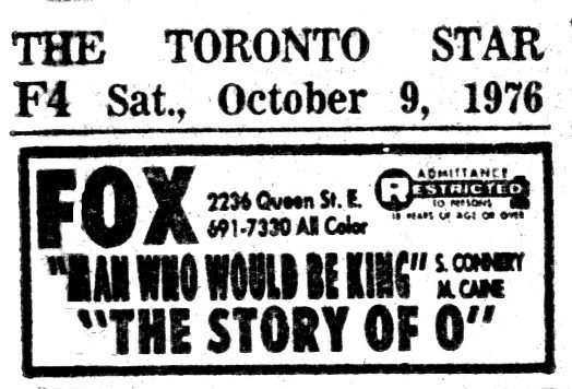"""TORONTO STAR AD FOR """"THE MAN WHO WOULD BE KING"""" FOX THEATRE"""