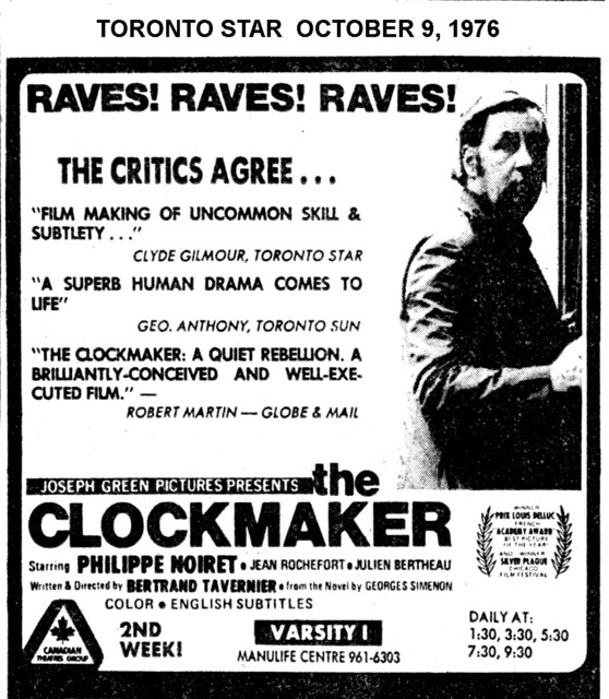 """TORONTO STAR AD FOR """"THE CLOCKMAKER"""" - VARSITY 1 THEATRE"""