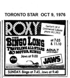 "TORONTO STAR AD FOR ""BINGO LONG AND JAWS"" ROXY THEATRE"
