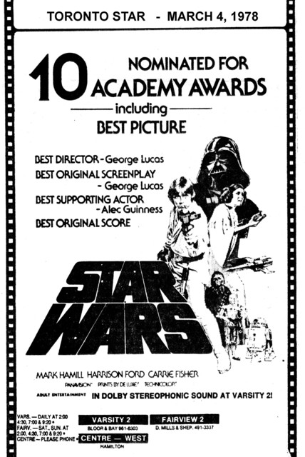 """TORONTO STAR AD FOR """"STAR WARS"""" FAIRVIEW 2 AND OTHER THEATRES"""