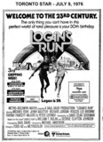 "TORONTO STAR AD FOR ""LOGAN'S RUN"" UNIVERSITY AND OTHER THEATRES"