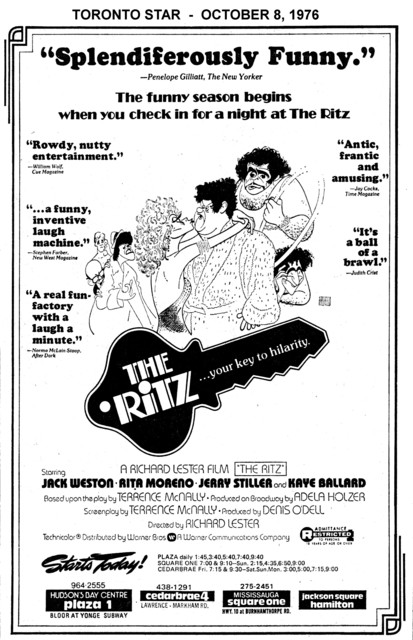"""TORONTO STAR AD FOR """"THE RITZ"""" SQUARE ONE AND OTHER THEATRES"""
