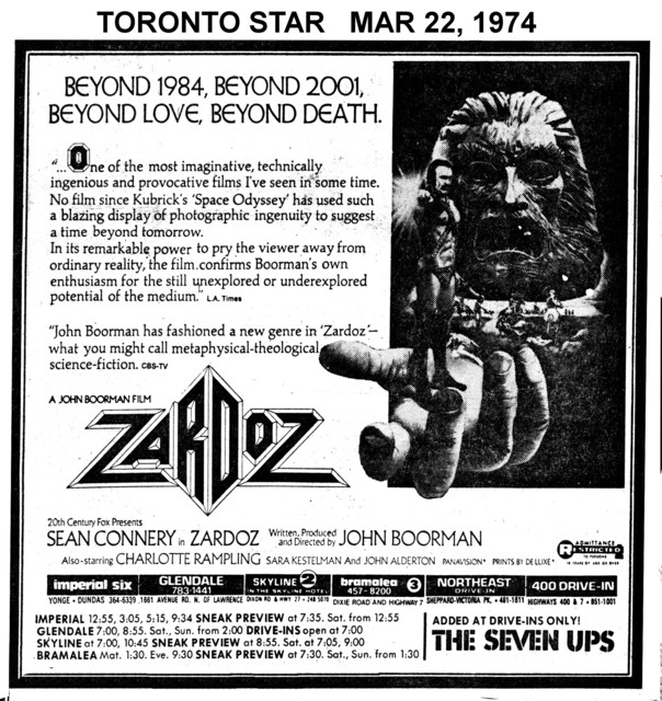 """TORONTO STAR AD FOR """"ZARDOZ"""" 400 DRIVE IN AND OTHER THEATRES"""