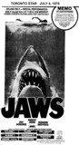"TORONTO STAR AD FOR ""JAWS"" ODEON HAMILTON AND OTHER THEATRES"