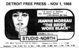"DETROIT FREE PRESS AD FOR ""THE BRIDE WORE BLACK"" STUDIO NORTH THEATRE"
