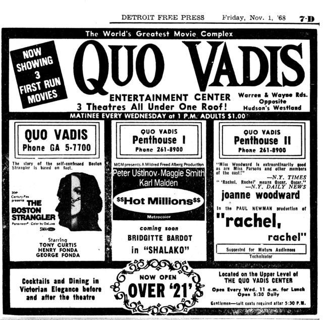 """DETROIT FREE PRESS AD FOR """"BOSTON STRANGLER, HOT MILLIONS & RACHEL RACHEL"""" QUO VADIS CENTRE"""