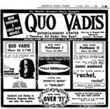 "DETROIT FREE PRESS AD FOR ""BOSTON STRANGLER, HOT MILLIONS & RACHEL RACHEL"" QUO VADIS CENTRE"