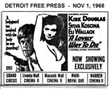 "DETROIT FREE PRESS AD FOR ""A LOVELY WAY TO DIE"" MAIN AND OTHER THEATRES"