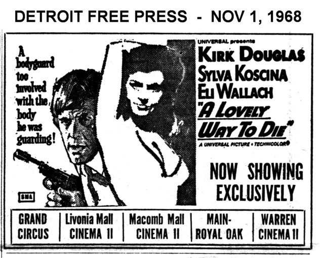 """AD FOR """"A LOVELY WAY TO DIE"""" MACOMB MALL CINEMA 2 AND OTHER THEATRES"""
