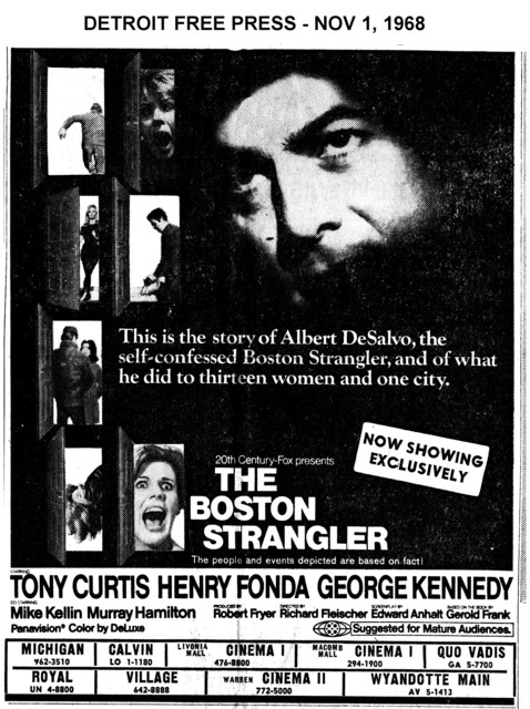 """AD FOR """"THE BOSTON STRANGLER"""" MICHIGAN AND OTHER THEATRES"""