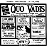 """AD FOR """"I LOVE YOU ALICE B TOKLAS, A MAN AND A WOMAN, RACHEL RACHEL"""" QUO VADIS THEATRES"""