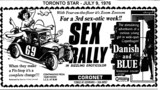 "AD FOR ""SEX RALLY & DANISH & BLUE"" CORONET THEATRE"