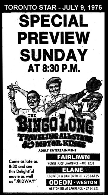 "AD FOR ""BINGO LONG TRAVELLING ALL STARS"" ELANE AND OTHER THEATRES"