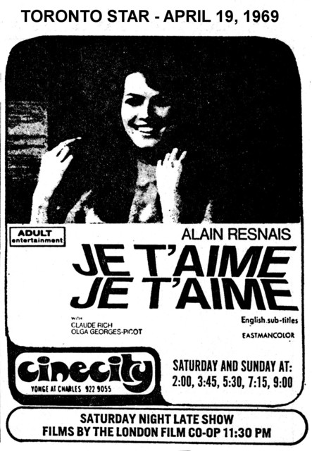 """AD FOR """"JE T'AIME JE T'AIME"""" CINECITY THEATRE"""