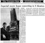 TORONTO STAR STORY ABOUT CONVERSION OF IMPERIAL THEATRE