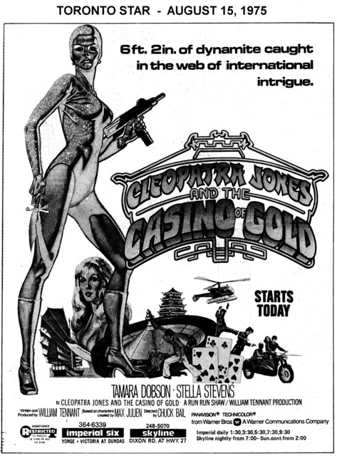 """AD FOR """"CLEOPATRA JONES AND THE CASINO OF GOLD"""" SKYLINE AND OTHER THEATRE"""