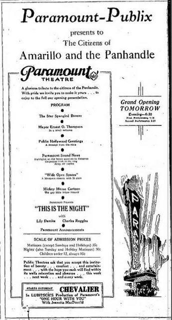 April 20th, 1932 grand opening ad