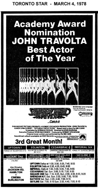 """AD FOR """"SATURDAY NIGHT FEVER"""" SKYLINE AND OTHER THEATRES"""