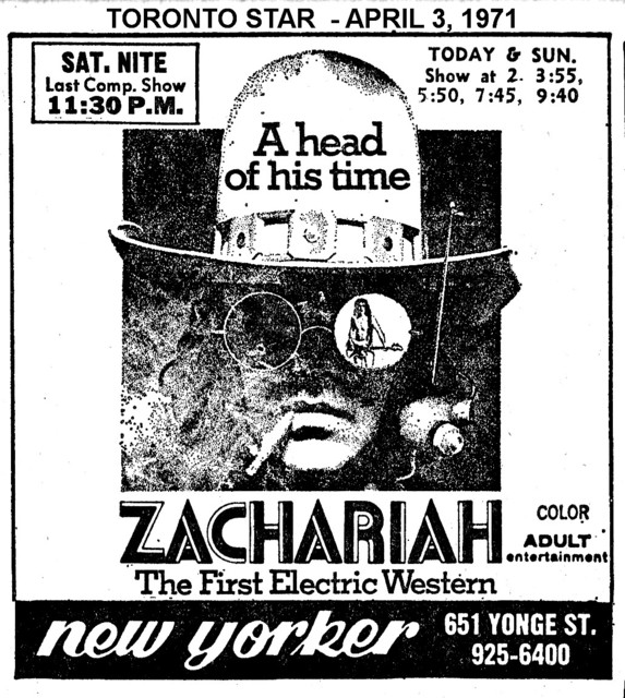 "AD FOR ""ZACHARIAH"" NEW YORKER THEATRE"