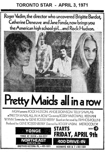 "AD FOR ""PRETTY MAIDS ALL IN A ROW"" YONGE THEATRE"