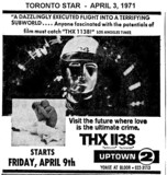 "AD FOR ""THX 1138"" UPTOWN 2 THEATRE"