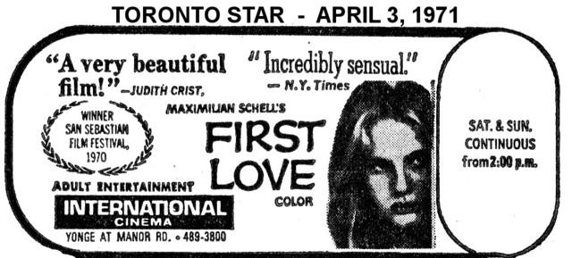 "AD FOR ""FIRST LOVE"" INTERNATIONAL CINEMA"