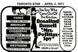 "AD FOR ""MRS. POLLIFAX-SPY"" YONGE AND OTHER THEATRES"