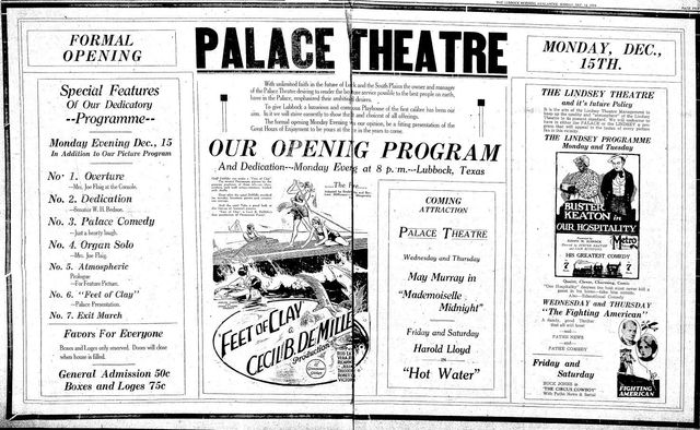 December 14th, 1924 opening as Palace