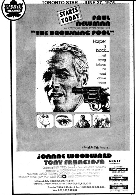 """AD FOR """"THE DROWNING POOL"""" BRAMALEA CINEMA AND OTHER THEATRES"""