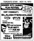 "AD FOR ""SLAUGHTERHOUSE 5 & PLAY MISTY FOR ME CINEMALUMIERE"