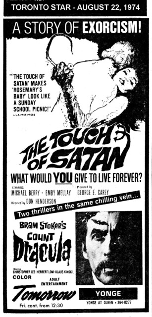 "AD FOR ""THE TOUCH OF SATAN & COUNT DRACULA"" YONGE THEATRE"