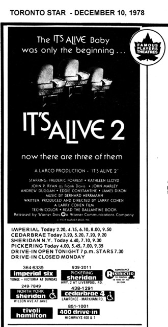 """AD FOR """"IT'S ALIVE 2"""" IMPERIAL AND OTHER THEATRES"""