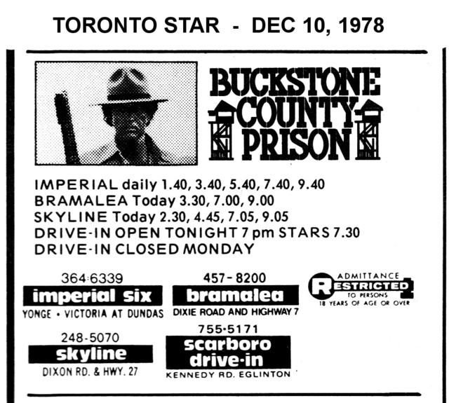 """AD FOR """"BUCKSTONE COUNTY PRISON"""" SCARBORO DRIVE-IN THEATRE"""