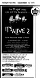 """AD FOR """"IT'S ALIVE 2"""" SHERIDAN (NORTH YORK) AND OTHER THEATRES"""