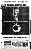 "AD FOR ""FOUR FLIES ON GREY VELVET"" SCARBORO DRIVE-IN & DOWNTOWN THEATRES"