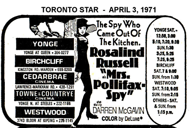 """AD FOR """"MRS POLLIFAX-SPY"""" TOWNE AND COUNTRYE AND OTHER THEATRES"""