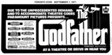 """TORONTO STAR AD FOR """"THE GODFATHER"""" TOWNE AND COUNTRYE AND OTHER THEATRES"""