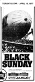 """AD FOR """"BLACK SUNDAY"""" SQUARE ONE (MISSISSAUGA) AND OTHER THEATRE"""