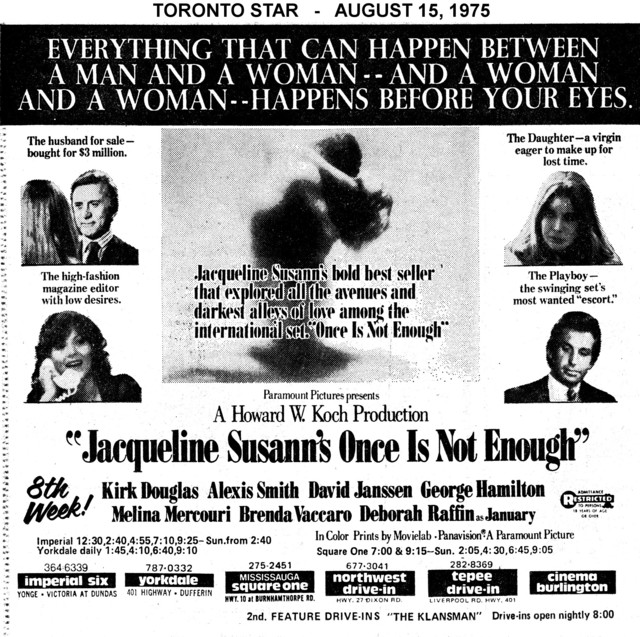 """AD FOR """"ONCE IS NOT ENOUGH"""" TEPEE DRIVE-IN AND OTHER THEATRES"""