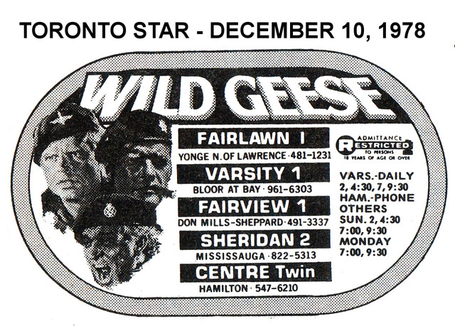"""AD FOR """"WILD GEESE"""" SHERIDAN 2 AND OTHER THEATRES"""