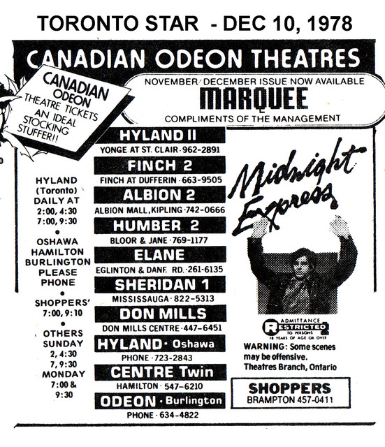 """AD FOR """"MIDNIGHT EXPRESS"""" ODEON SHERIDAN 1 AND OTHER THEATRES"""