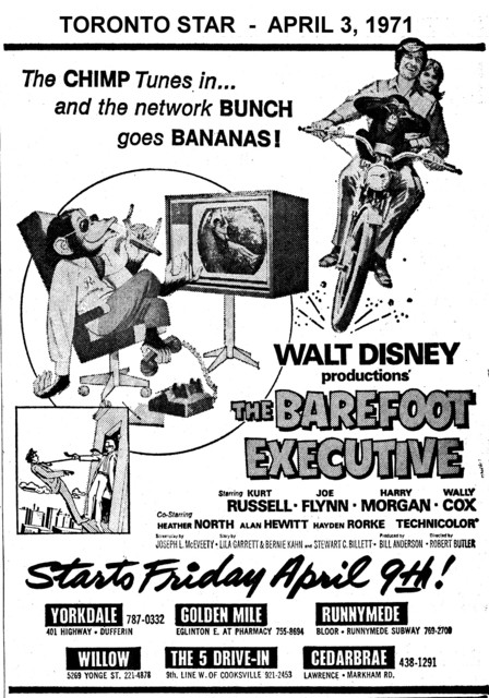 "AD FOR ""THE BAREFOOT EXECUTIVE"" THE 5 DRIVE-IN AND OTHER THEATRES"
