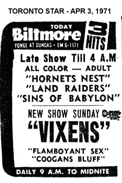 AD FOR 3 FEATURES AT THE BILTMORE THEATRE