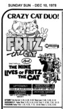 "AD FOR ""FRITZ THE CAT & NINE LIVES OF FRITZ"" JACKSON SQUARE AND OTHER THEATRES"
