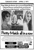 """AD FOR """"PRETTY MAIDS ALL IN A ROW"""" NORTHEAST DRIVE-IN"""