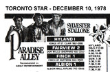 """AD FOR """"PARADISE ALLEY"""" FINCH 1 AND OTHER THEATRES"""
