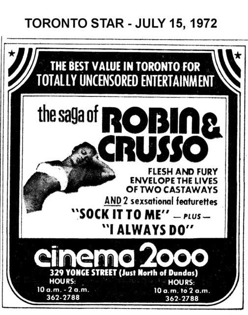 "AD FOR ""THE SAGA OF ROBIN & CRUSSO"" CINEMA 2000"