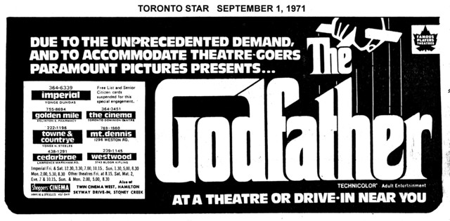 """AD FOR """"THE GODFATHER"""" MT. DENNIS AND OTHER THEATRES"""